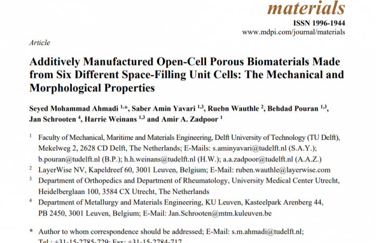 Additively Manufactured Open-Cell Porous Biomaterials Made from Six Different Space-Filling Unit Cells: The Mechanical and Morphological Properties