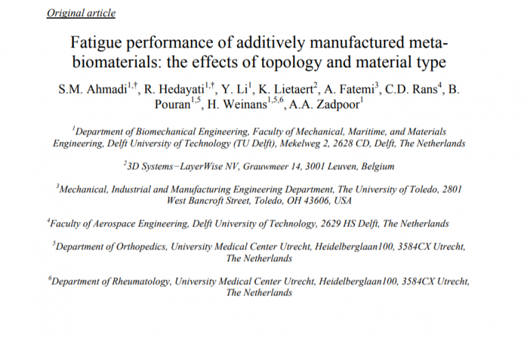 Fatigue performance of additively manufactured meta- biomaterials: the effects of topology and material type